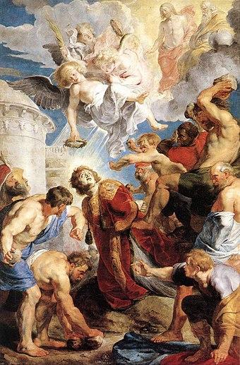 Lapidation Saint Etienne martyr premier persécuté Pierre Paul Rubens