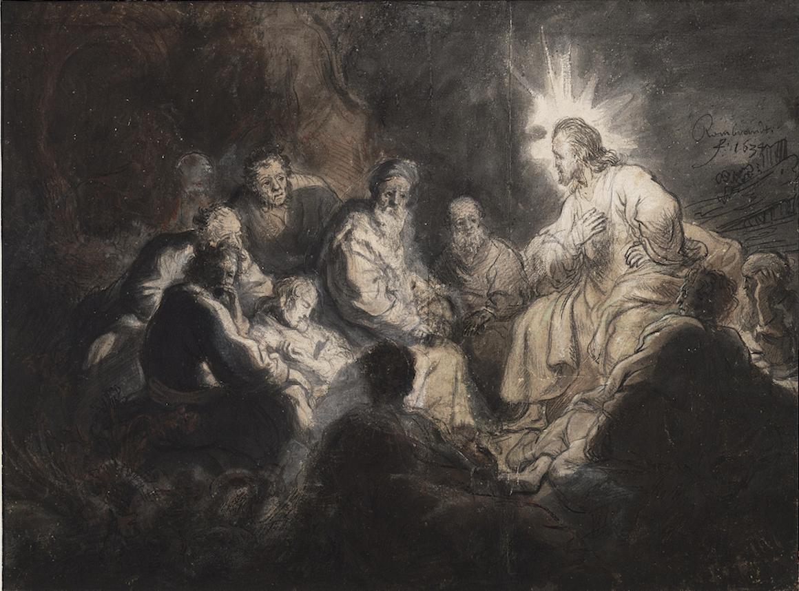 Jésus entouré disciples christ glorieux lumière autorité Rembrandt