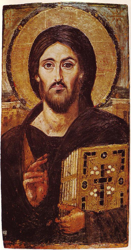 Icône encaustique Christ bénédiction