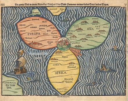 carte monde feuilles trèfle Trinité chrétienne Jérusalem Heinrich Bünting
