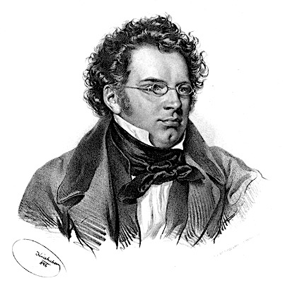 portrait fusain Schubert profil cheveux lunettes Ave Maria