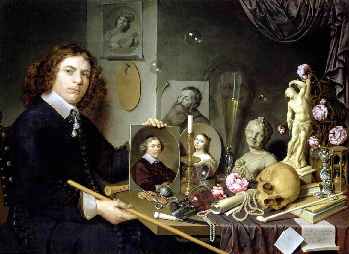 Vanité homme portait crâne autoportrait Bailly