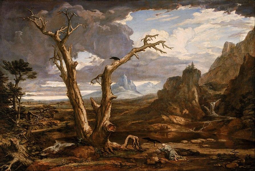 Elie désert sombre corbeau montagnes terres arides Washington Allston