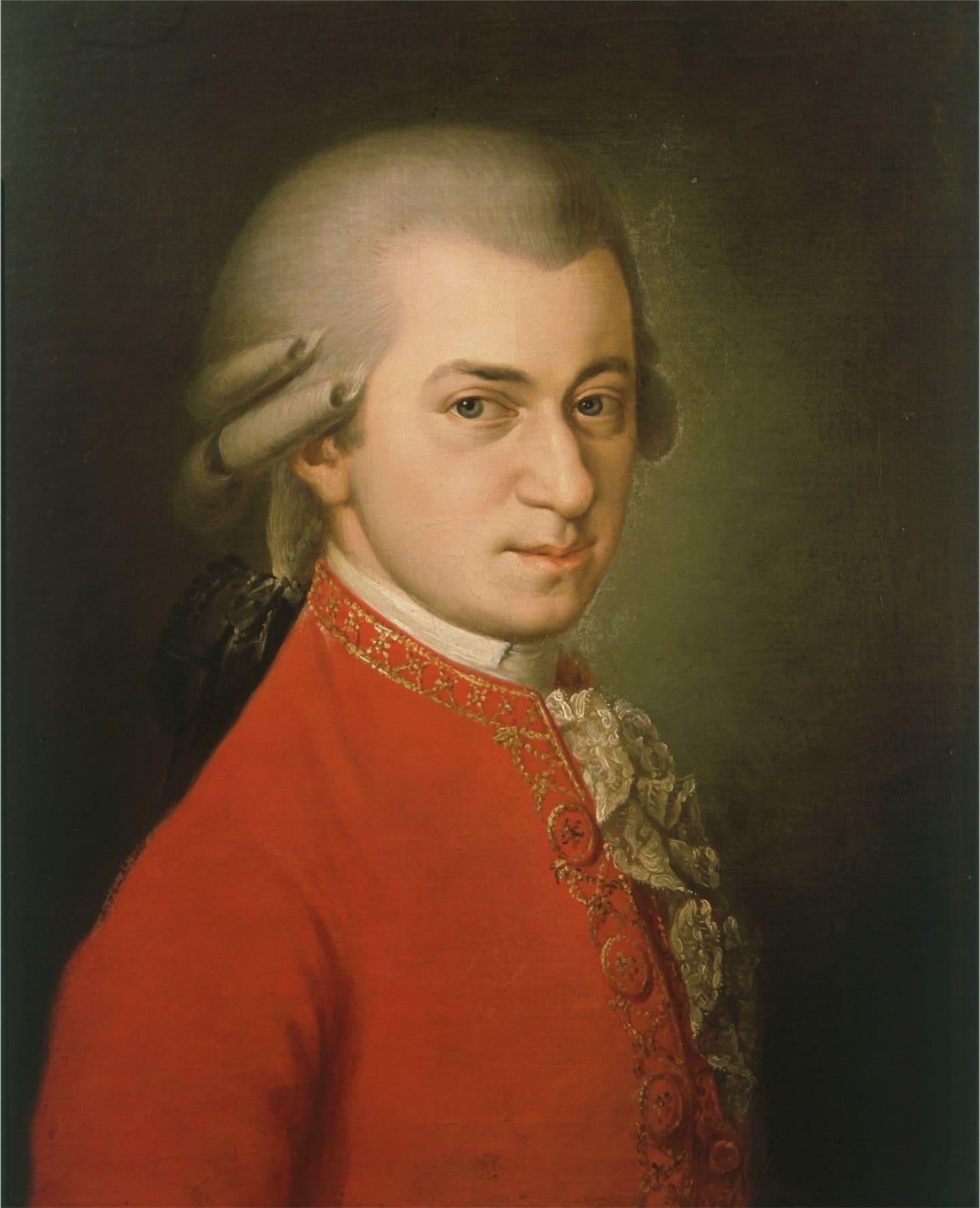 Mozart portrait veste rouge