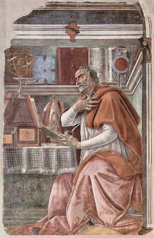 saint augustin travail bureau bibliotheque fresque Botticelli
