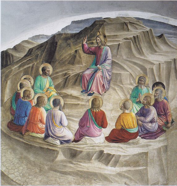 Christ doigt levé apôtres montagne cercle Fra Angelico