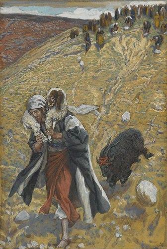 Agnus-Dei bouc émissaire sacrifice berger troupeau désert James Tissot