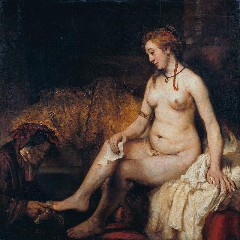 Bethsabée nue bain assise servante Rembrandt