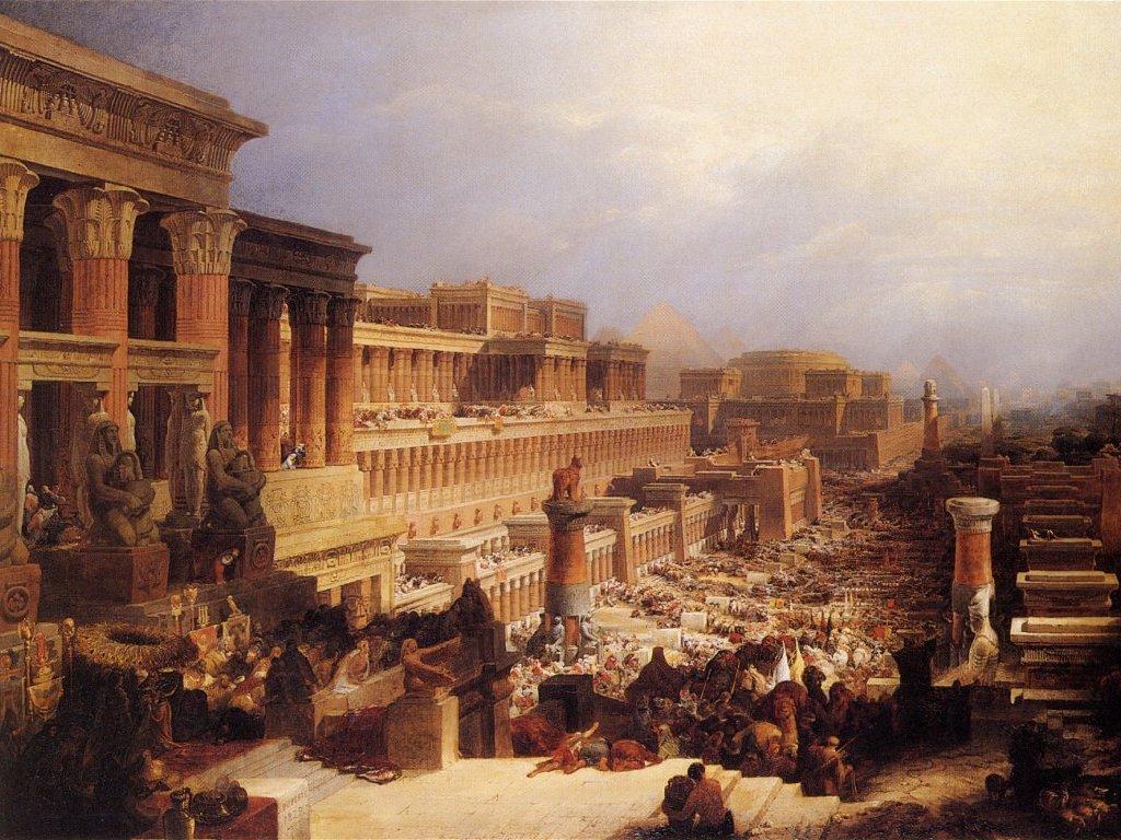 Israélites quitter Egypte ciel couleurs histoire David Roberts