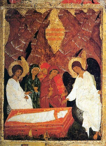 Icône femmes myrrophores Tombeau linceul Jésus sabbat Maris
