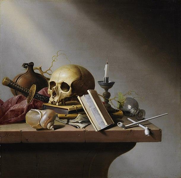 Vanité crâne nature morte table Steenwijck