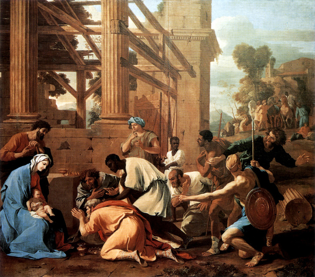 Adoration rois mages Jésus Marie Joseph Nicolas Poussin