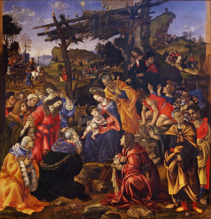 Adoration mages sainte famille foule tente Filippino Lippi
