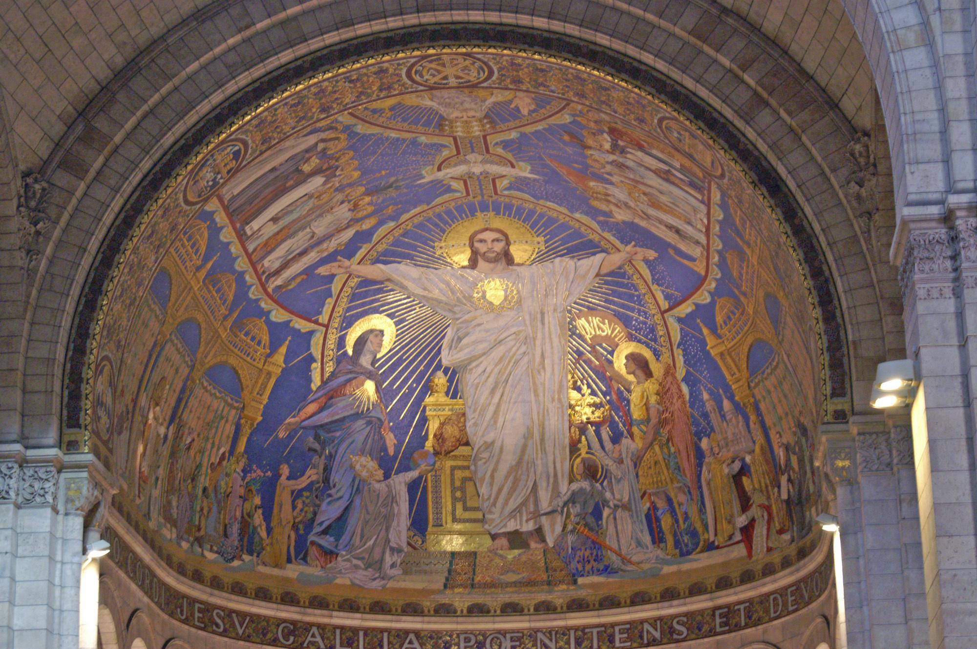 Christ fresque Basilique Sacré-Coeur Merson Magne