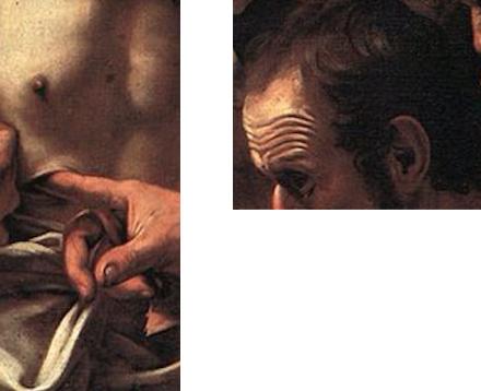 doigt plaie regard oreille Le Caravage Michelangelo