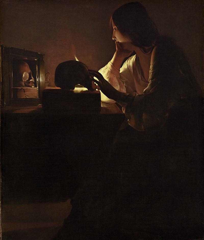Marie-Madeleine miroir bougie crâne pensive Georges De La Tour