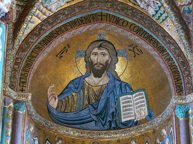 Christ mosaïque abside cathédrale Cefalu