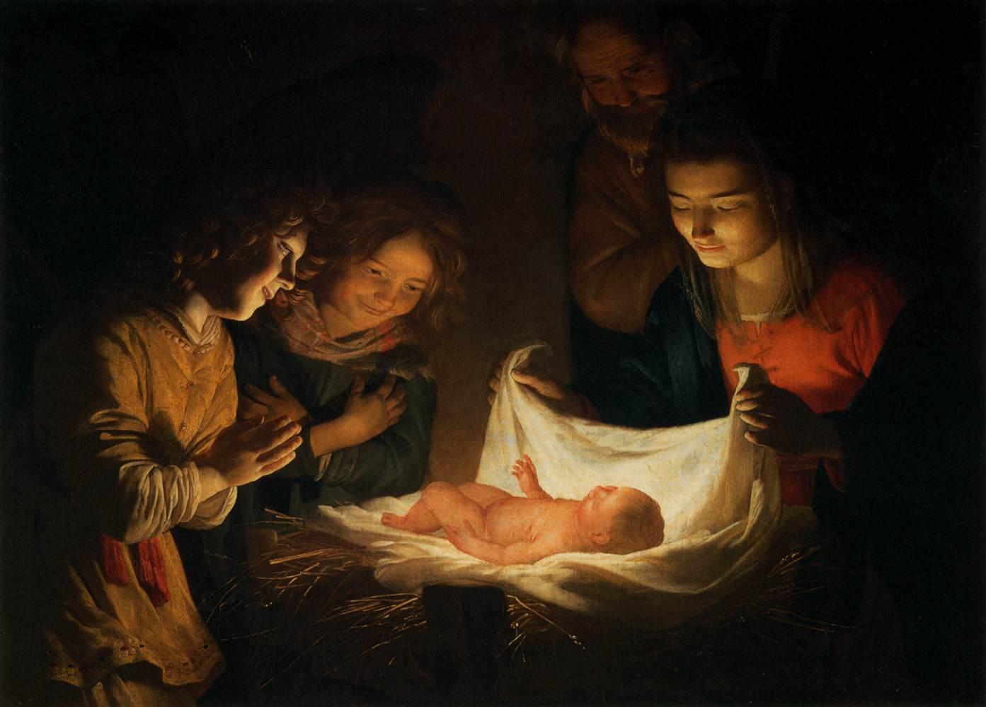 Adoration enfant Jésus prière linge Gerard van Honthorst