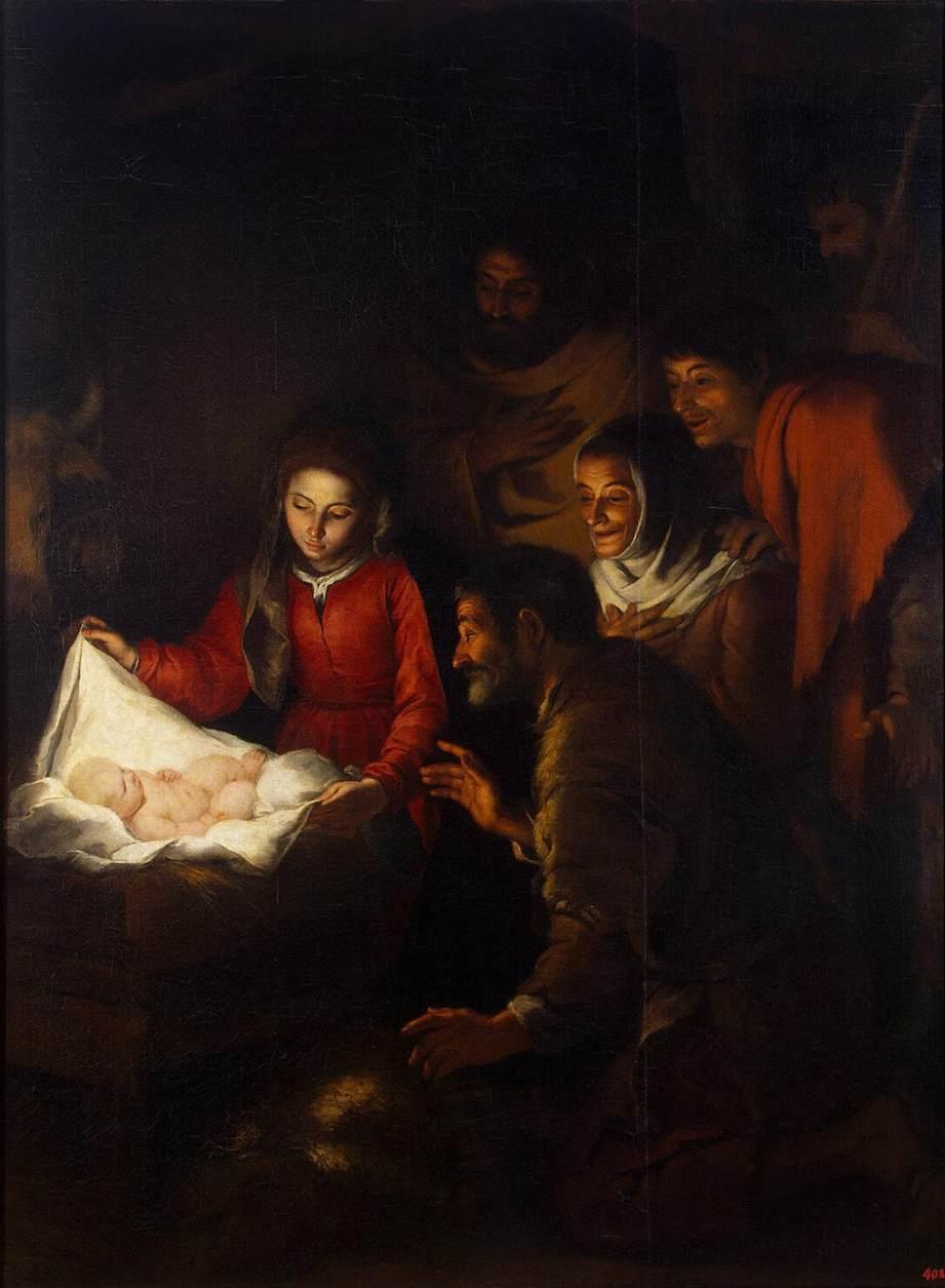 adoration berger lumière crèche enfant vierge marie Murillo