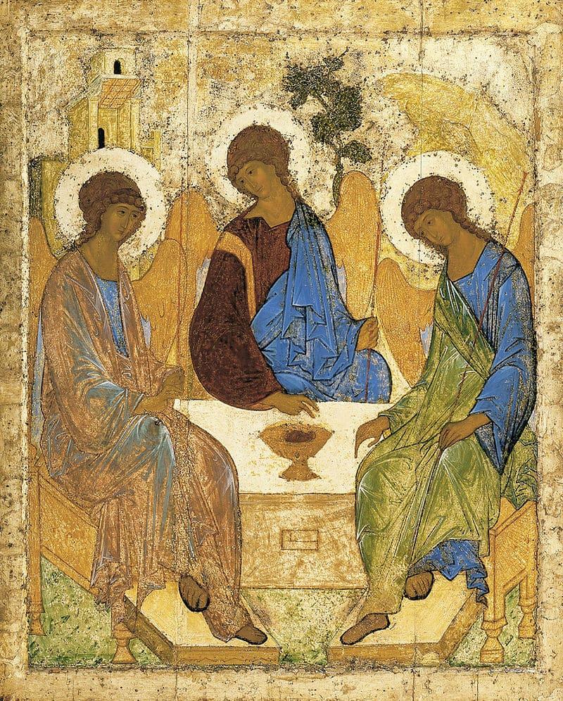 Trinité trois ange assis table auréole coupelle Roublev