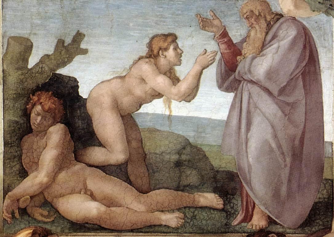 Création Eve Adam côté roche Dieu drapé blanc fresque Chapelle Michel Ange