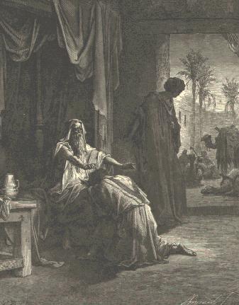 Bénédiction Jacob Isaac père main geste agenouillé Gustave Doré