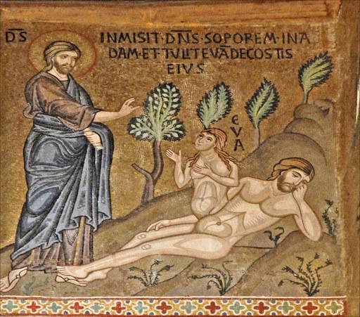 Création Eve femme Jésus Adam allongé mosaïque