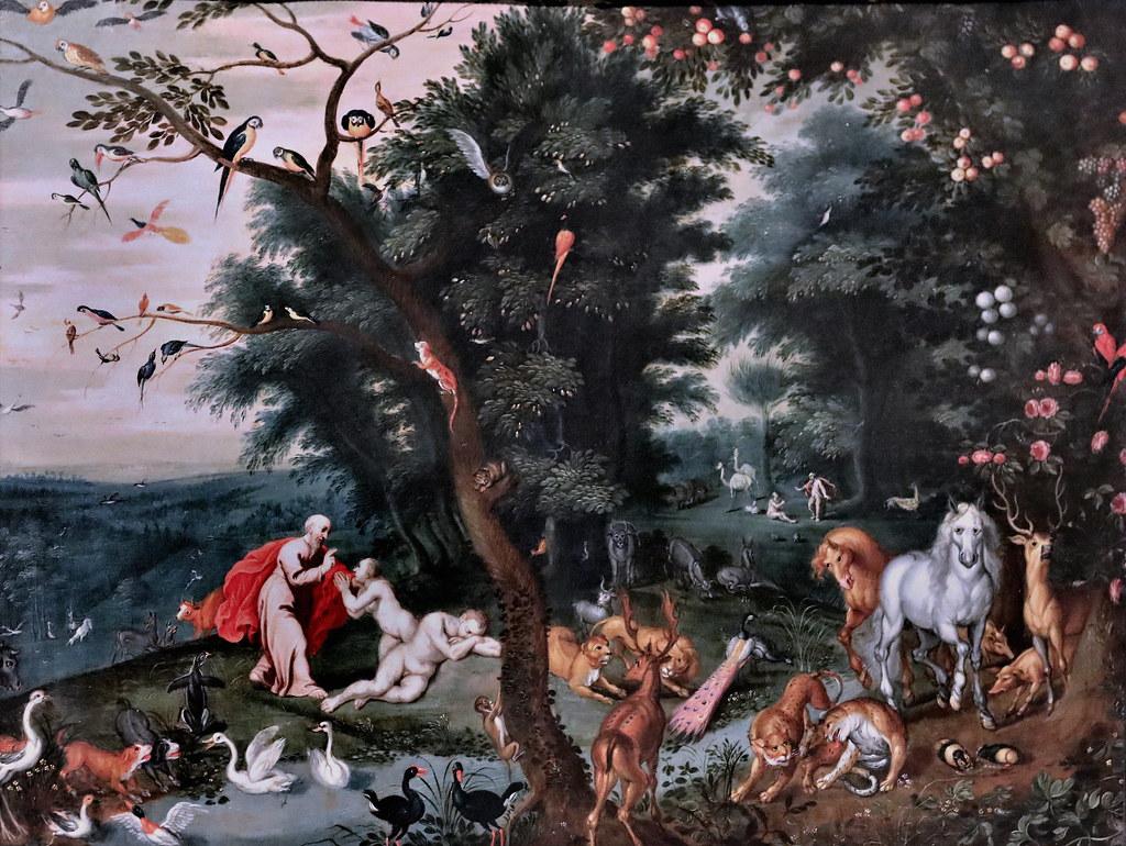 Création Eve femme Adam allongé nature Paradis terrestre Jacob Bouttats