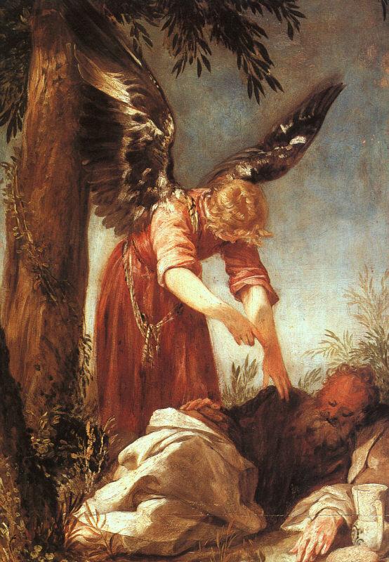 Ange Prophète Élie endormi allongé Juan Antonio de Frías y Escalante