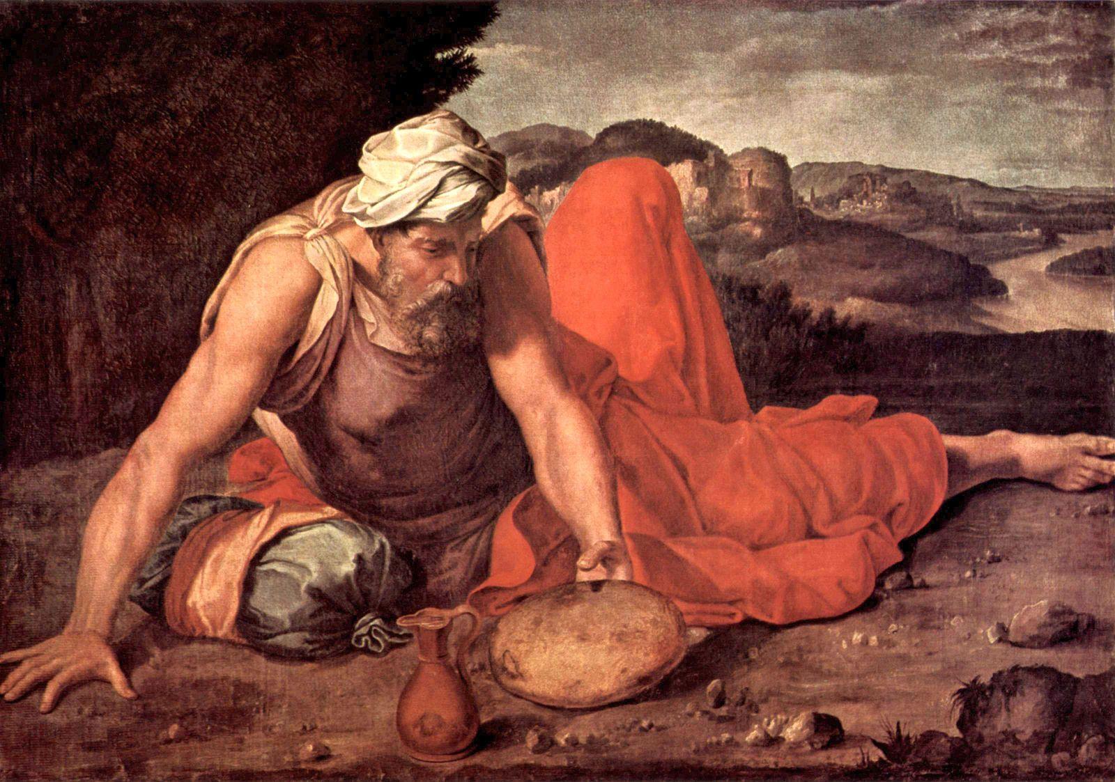 prophète Elie allongé linge rouge mont Horeb Daniele da Volterra