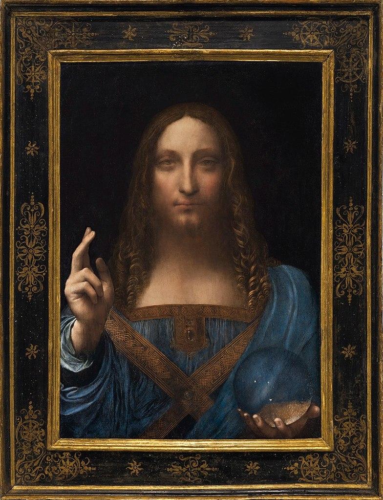 Jésus christ portrait tunique bleu Leonard de Vinci