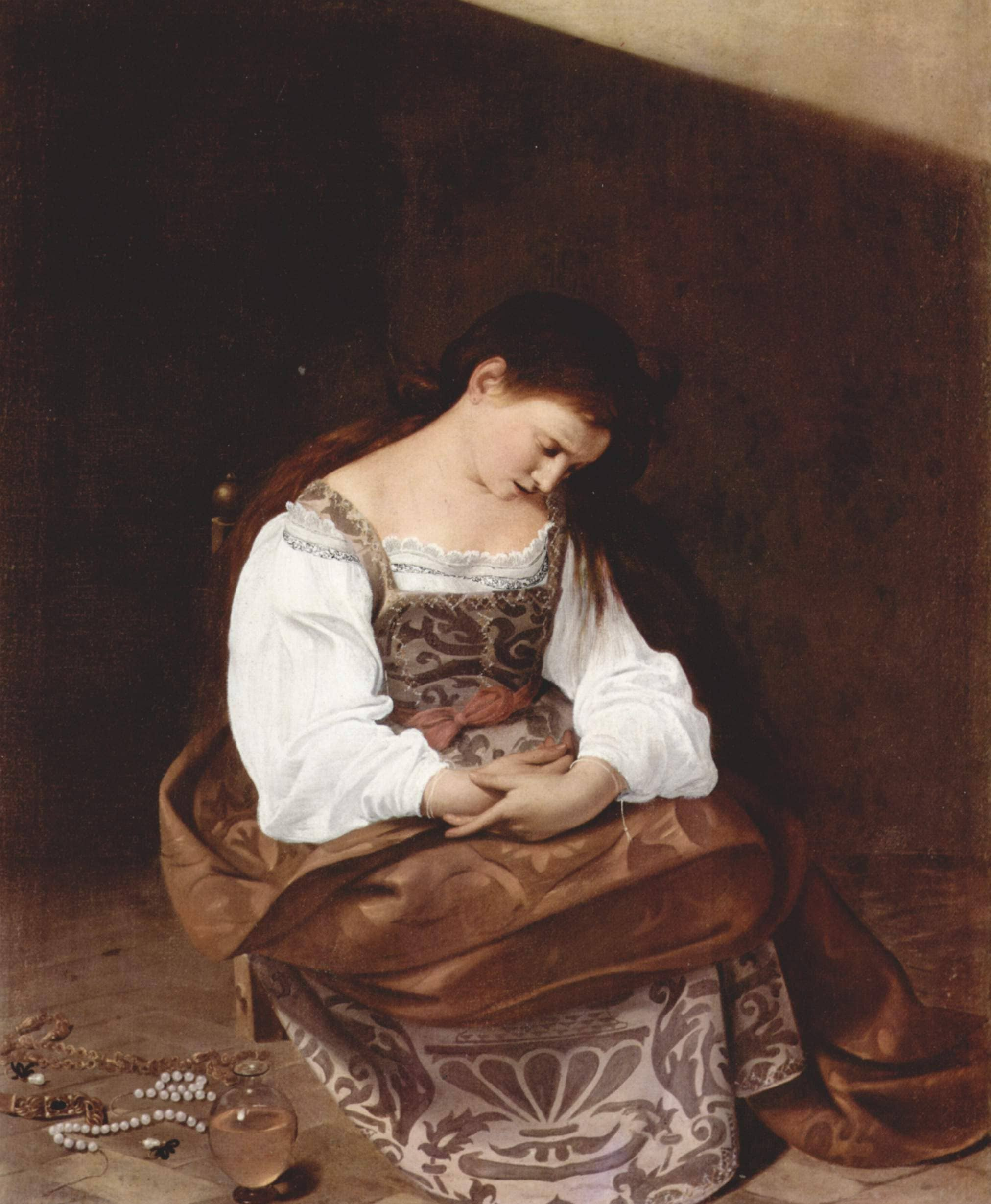 Madeleine repentante assise collier sol Le Caravage