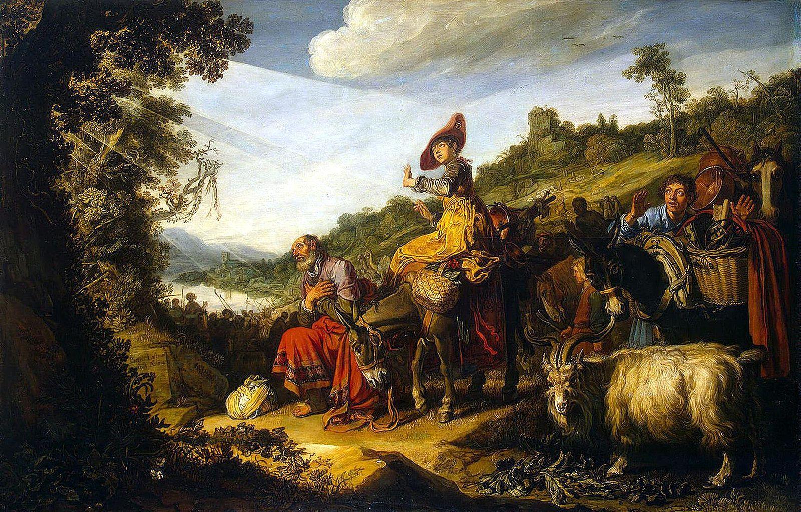 Voyage Abraham Canaan premier père terre Israël agenouille Pieter Lastman