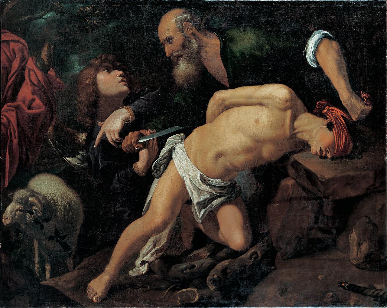 Sacrifice Isaac Abraham couteau ange arrêt Pedro Orrente