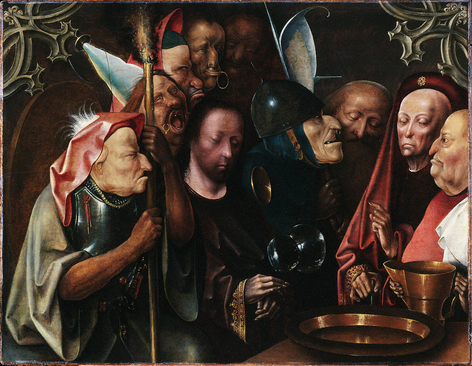 Christ Pilate soldats sombre rouge procès Jérôme Bosch
