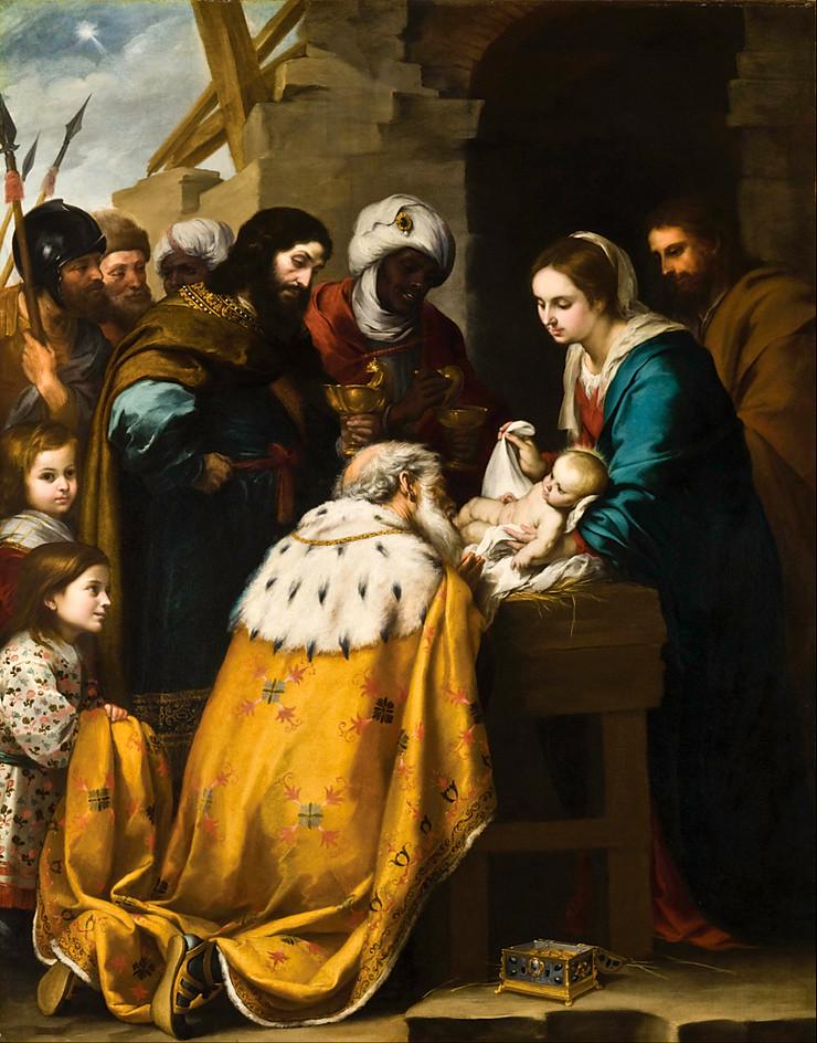 Adoration bergers rois mages manteau jaune bébé hommes bleu Joseph Bartolomé Esteban Murillo