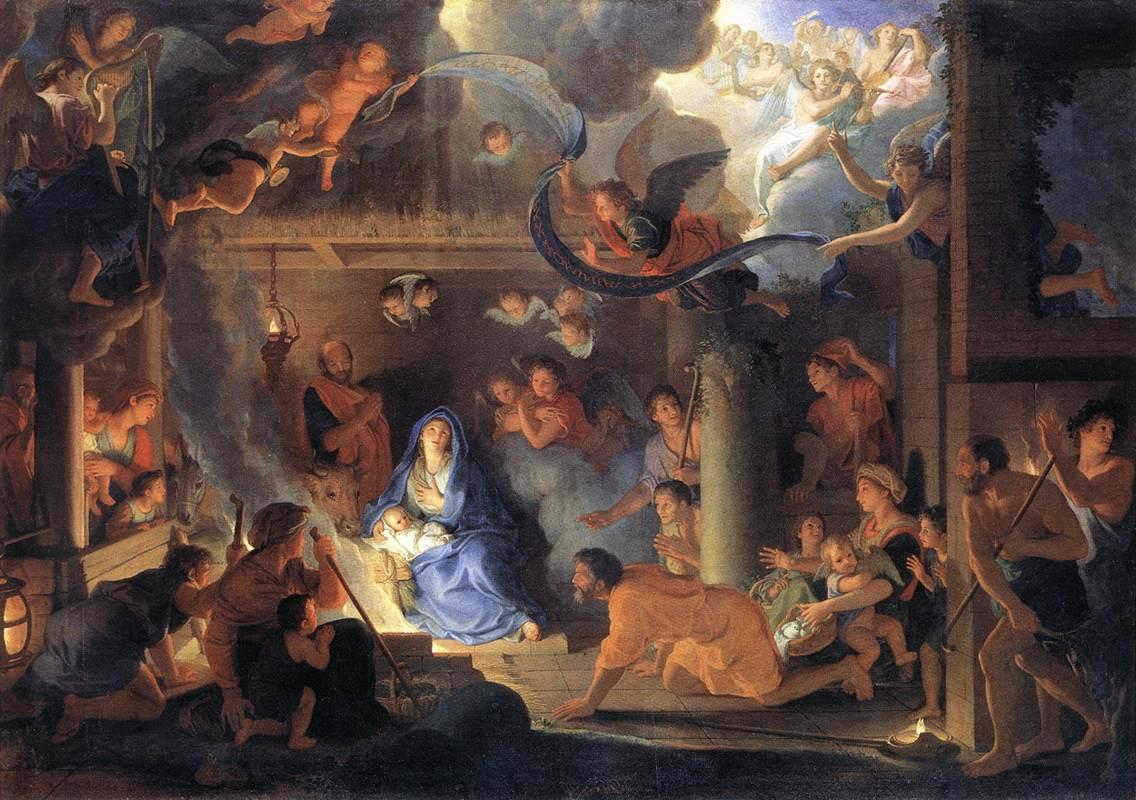 Jésus Nativité Marie Joseph Adoration bergers anges Charles Le Brun