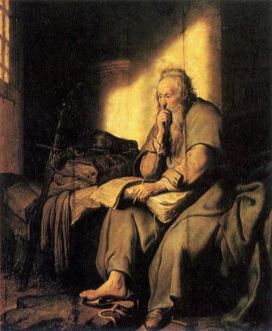 Saint paul prison ecrit livre assis pied nu Rembrandt