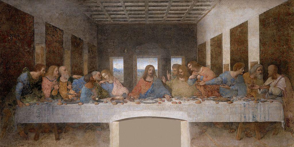 La Cène apôtres repas table salle Jésus centre Léonard de Vinci