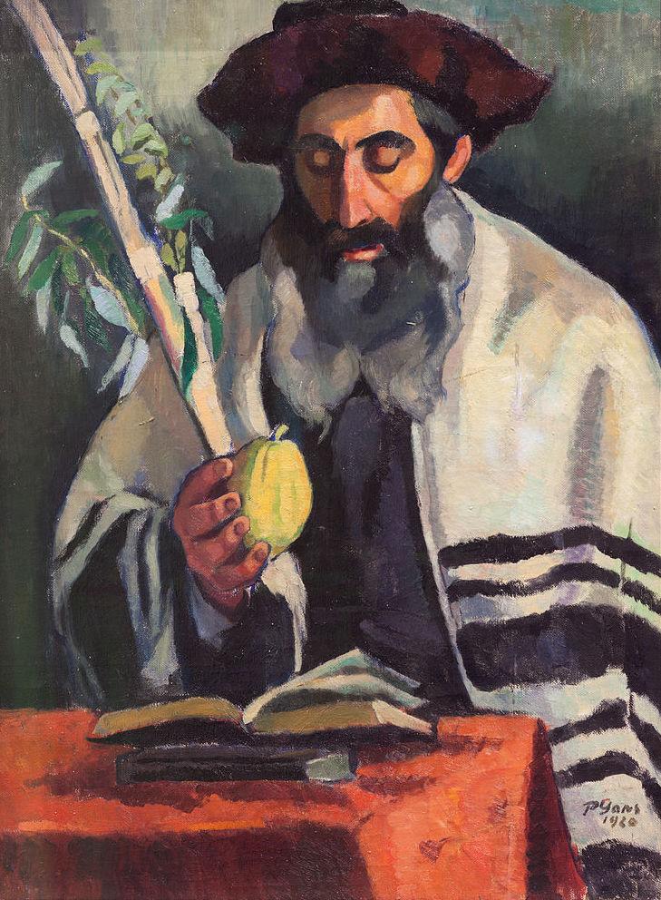 prêtre souccoth feuilles fruit lecture psaume chapeau Paul Gans