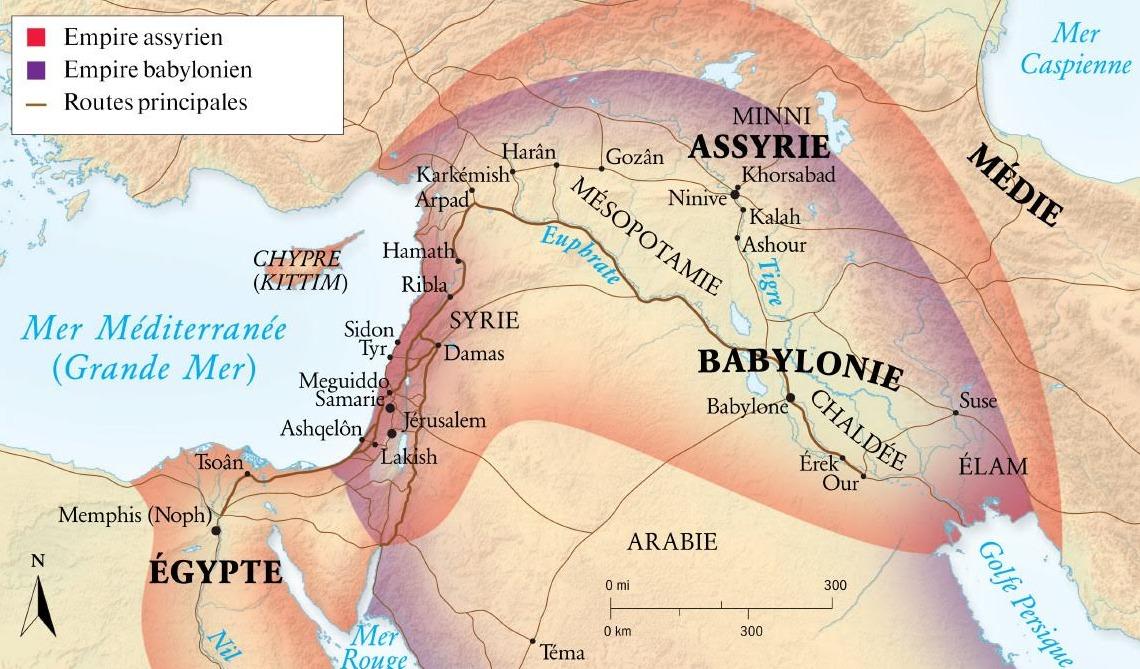 Carte Empire assyrien babylonien routes Mer Méditerranée