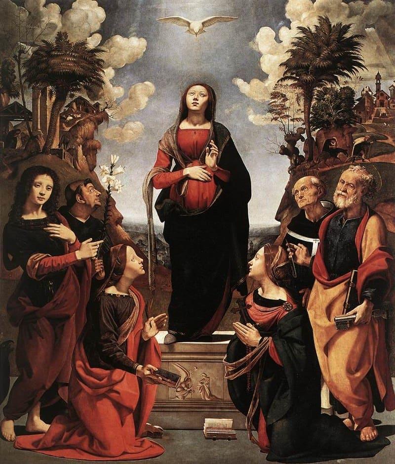 Jésus descente de la Colombe lumière personnes rouge et bleu Piero di Cosimo