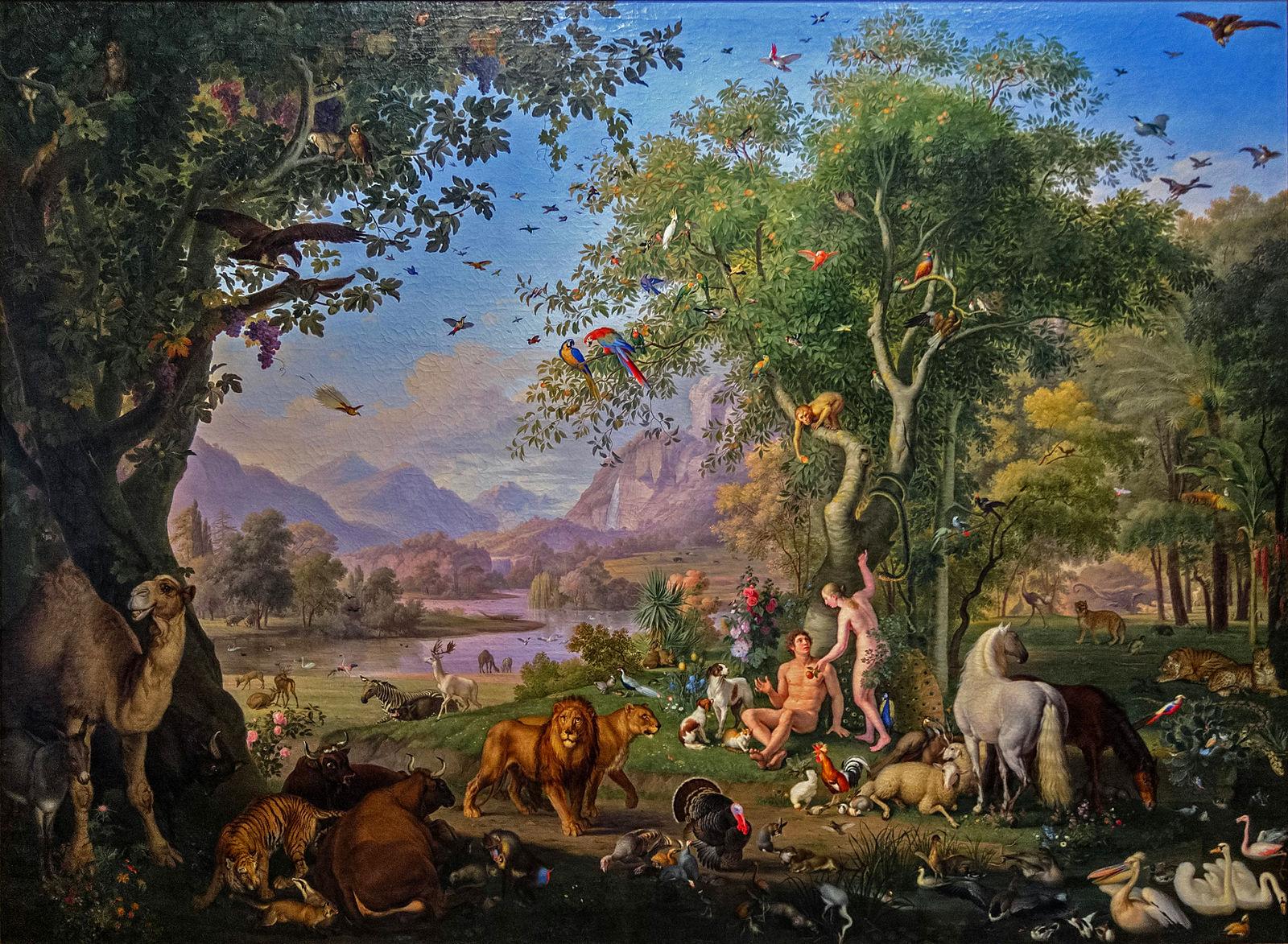 Adam Eve jardin Paradis arbre ciel montagnes animaux fleurs Johann Wenzel Peter
