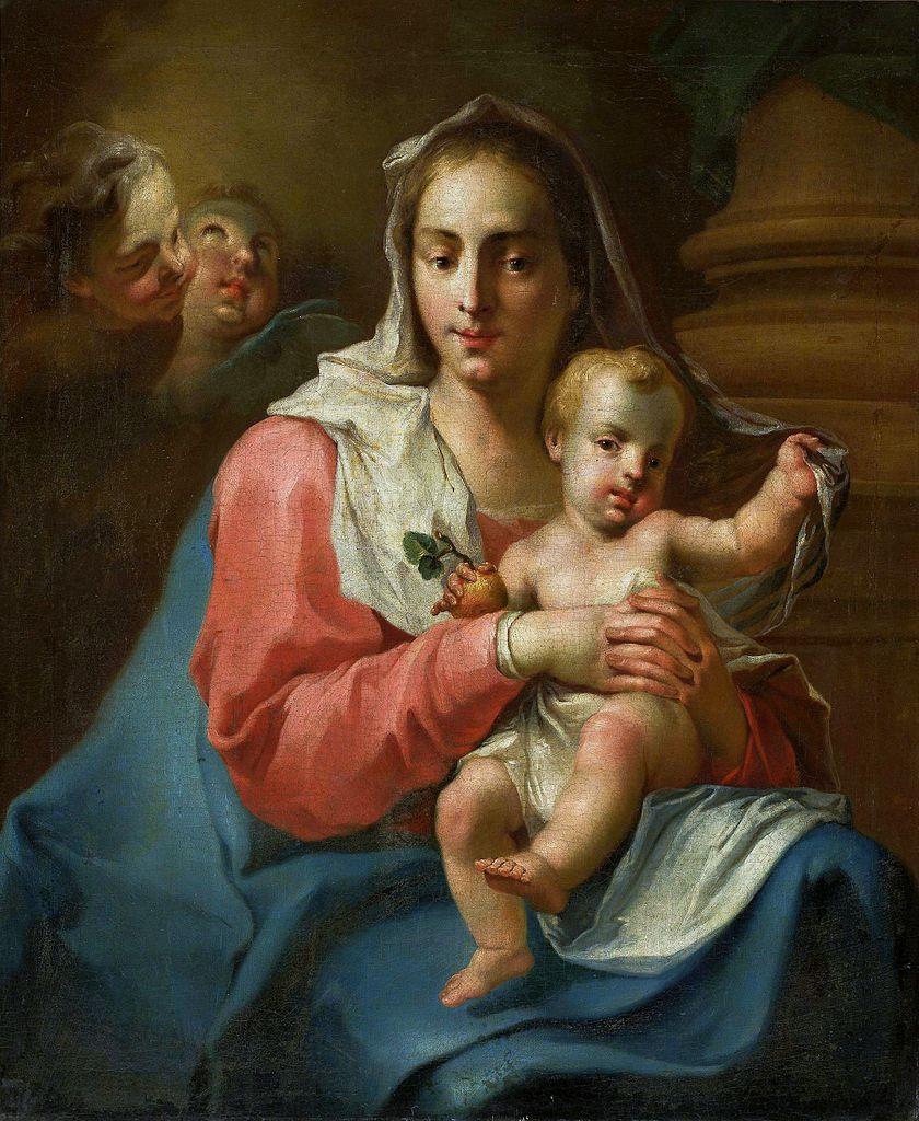 vierge enfant jésus nu voile tunique rouge bleue Pittoni