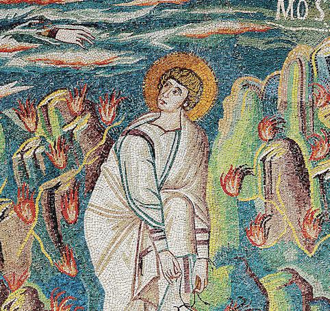 Buisson ardent flamme Moïse mains mosaïque basilique Ravenne