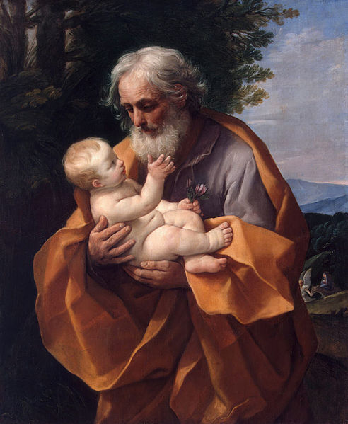 joseph enfant jésus nu regard arbre Guido Reni