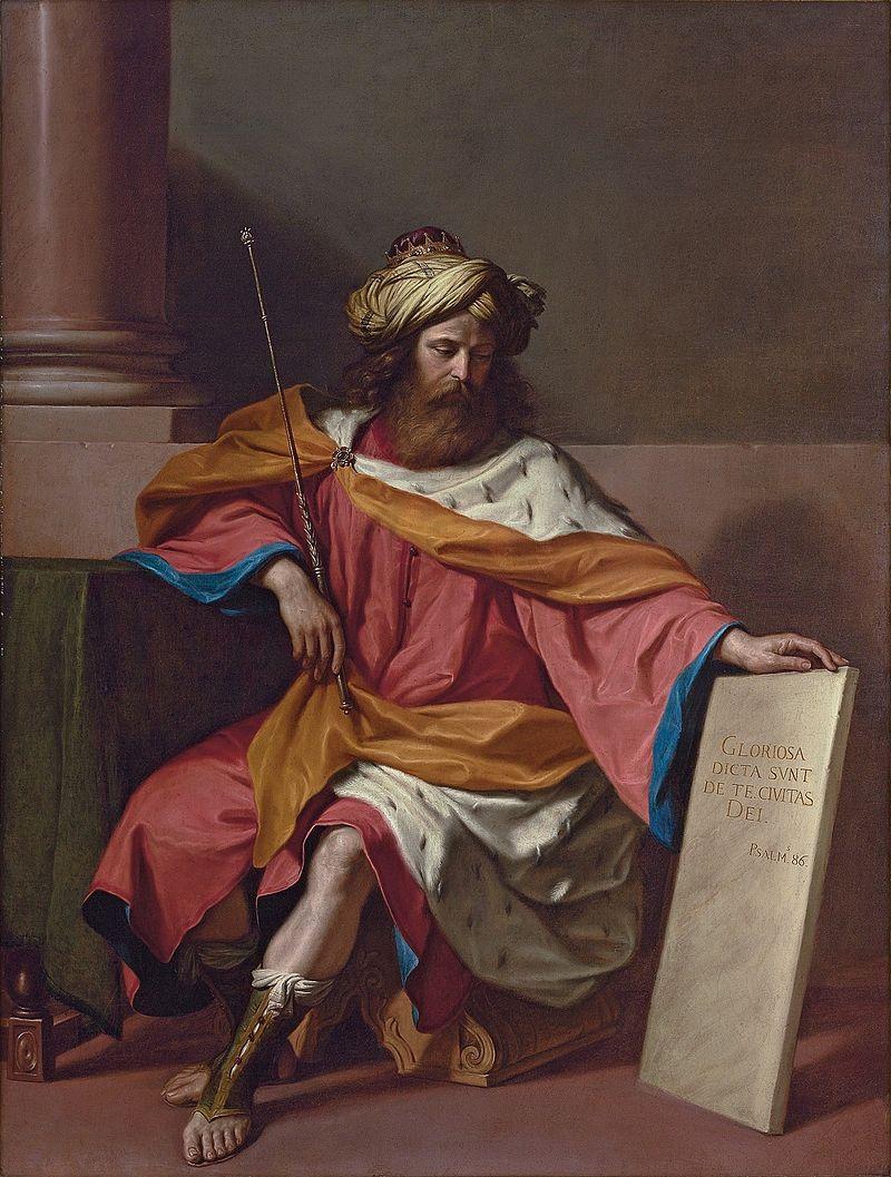 roi david assis trône sceptre tunique royale