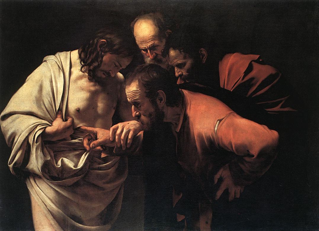 incrédulité thomas jésus toucher doigt tunique rouge blanche noire Le Caravage