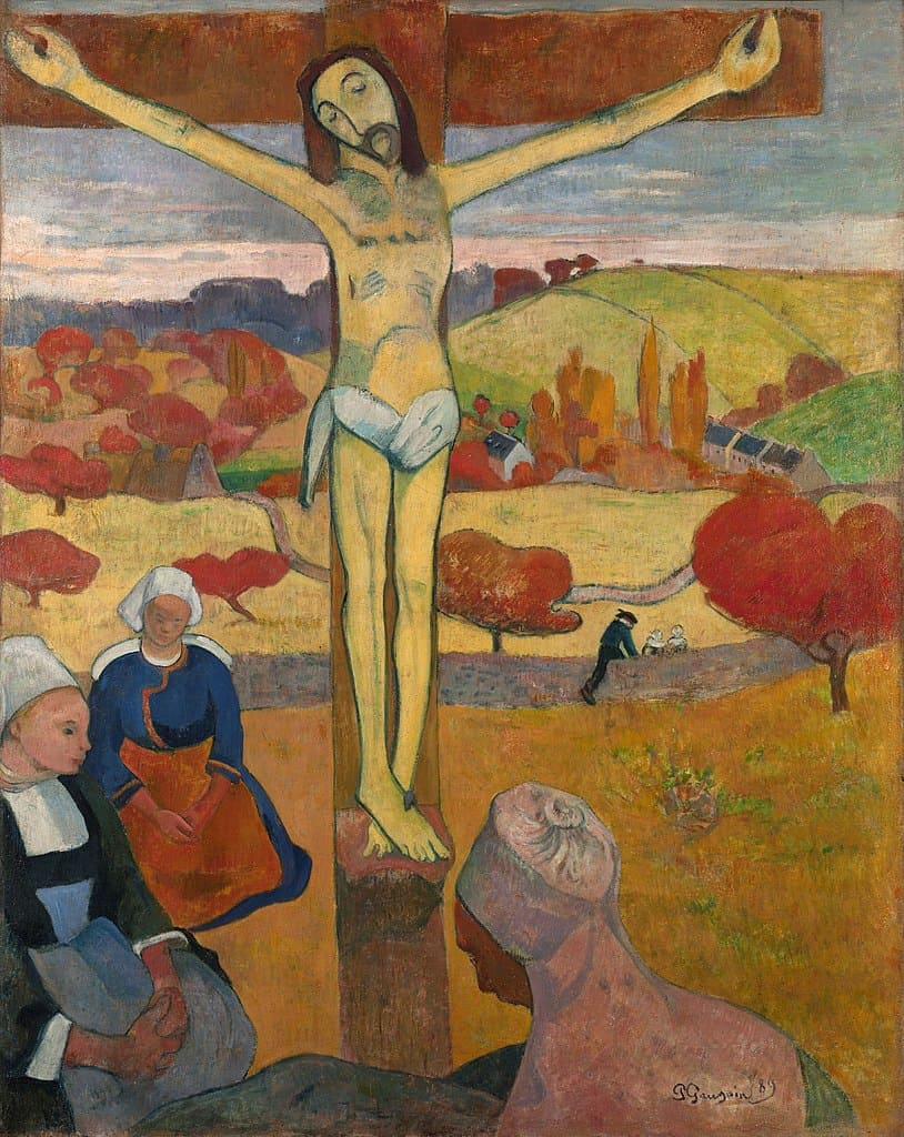 crucifixion Jésus jaune femmes paysage colline Gauguin