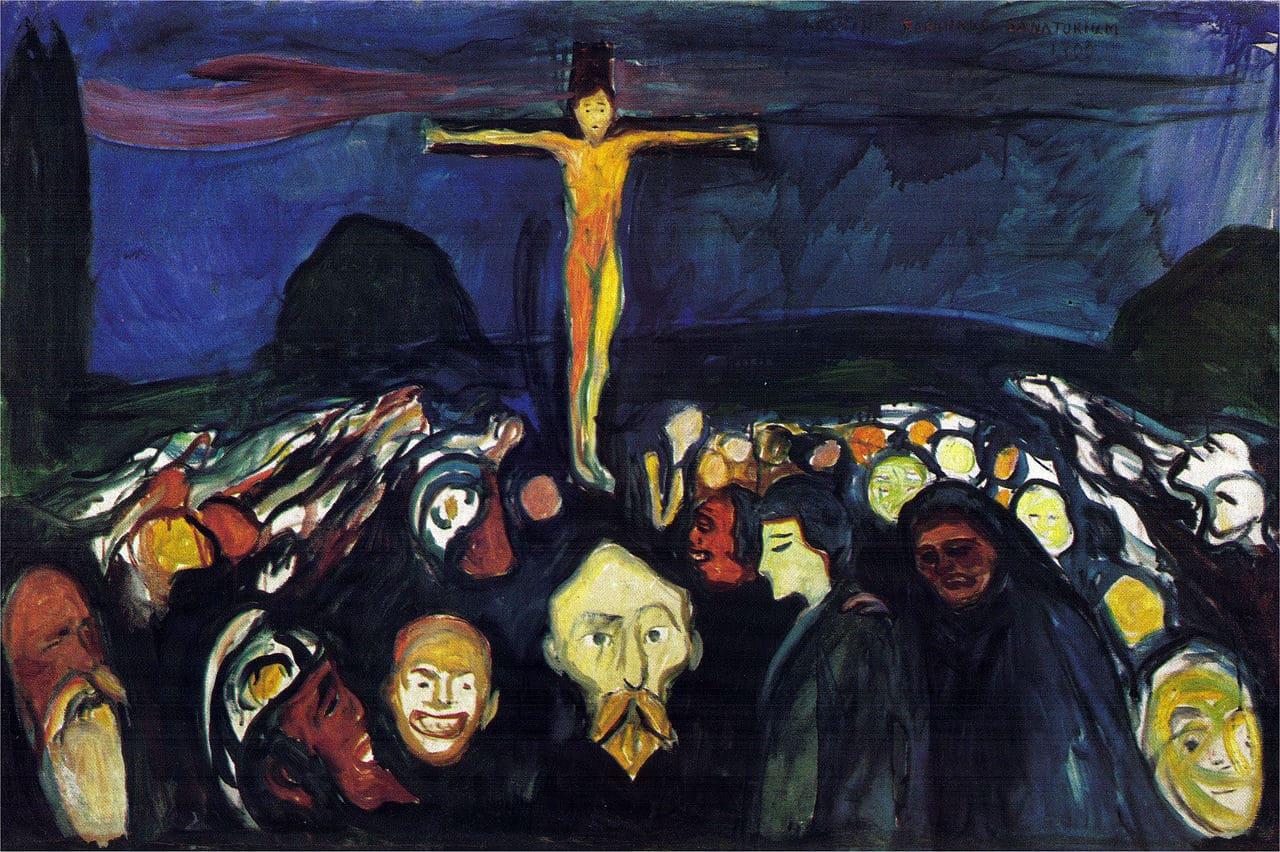 Christ croix Golgotha foule sombre Munch